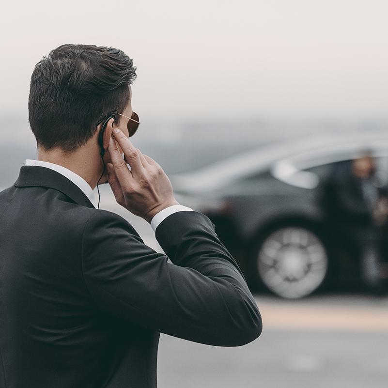 beveiliger van een persoon bij een auto